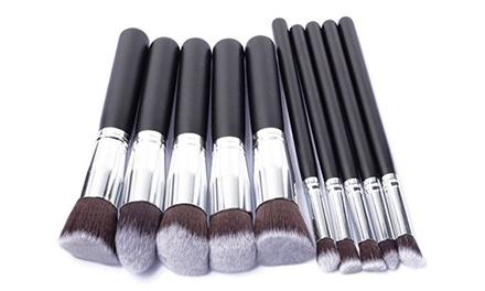 One, Two or Three Ten Piece Kabuki Makeup Brush Sets